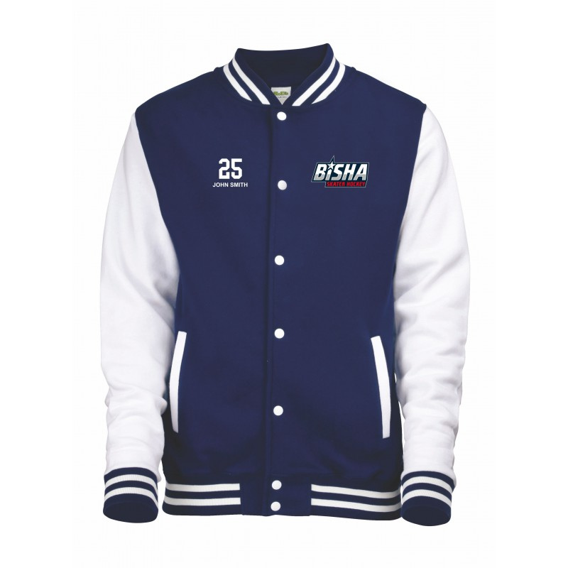 Bisha embroidered varsity jacket my custom teamwear