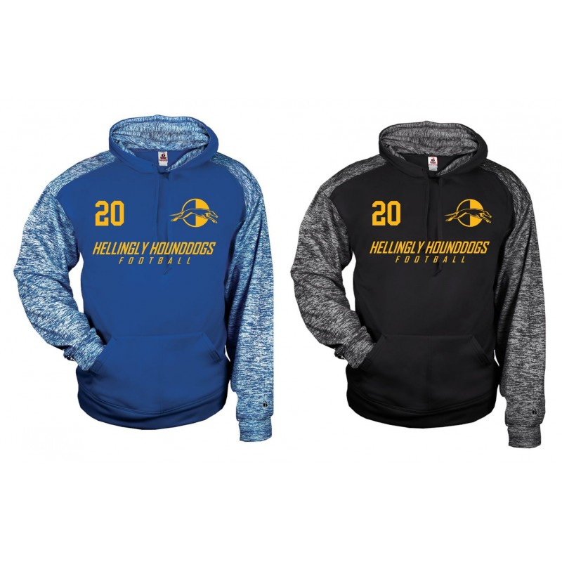 Hellingly Hound Dogs - Printed Sports Blend Football Logo Hoodie