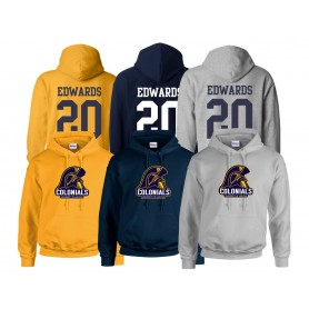 Lincoln Colonials - Full Logo With Name and Number Hoodie